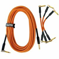 "20 ft 1/4"" & 6"" Patch Male Instrument Guitar Bass Amp Gold Tip Cables Cords Pack"