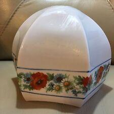 Antico Art Nouveau Bianco Rosso Blu Floreale Vetro Opaco Lampada Luce Petalo Shade