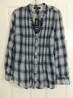 Style & Co Women's Blue Plaid Long Sleeve Button Front Top Size XS NWT