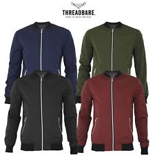 Mens Threadbare Lightweight MA1 Bomber Baseball Jacket Zip Windbreaker Coat