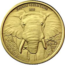 Gabun 5000 Francs 2012 African Elephant 1/8 Gold Ounce Antique Finish