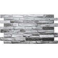 PVC Plastic Wall Panels 3D Decorative Tiles Cladding - Grey Stone effect 1.96m2
