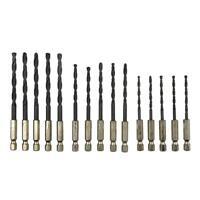 15pcs HSS Hex Shank Drill Bits Set Hexagonal Screw Twist Electric Drills R1BO