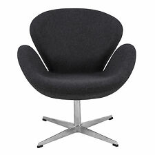 LeisureMod Arne Jacobsen Style Swan Accent Chair in Gray Wool