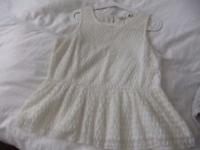 Jack Wills  Lace  top with Frilled Hem  Allover embroidery IVORY Size UK 14