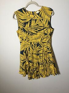 H&M Womens Blue And Yellow Nature Print Fit And Flare Dress Size 12 Sleeveless