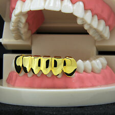 New Custom Fit 14k Gold Plated Hip Hop Teeth Grillz Caps Lower Bottom Grill