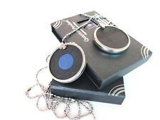 Esmalte Azul Colgante De Energía Escalar Bio + Estuche + Cadena Collar Nuevo Y En Caja De Metal