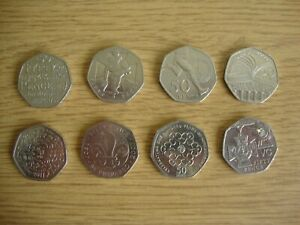 Job Lot - 8 x 50p Coins - WWF, Girl Guides, Boy Scouts etc - Good Circ Condition