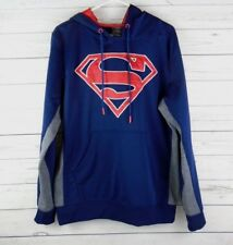 Superman Brand  Navy Blue & Gray Hooded Sweatshirt Mens Size M Large Red Logo