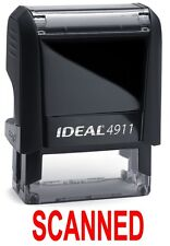 SCANNED stamp text, IDEAL 4911 Self-inking Rubber Stamp with RED INK