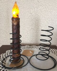 TWO BLACK Wire Spiral Taper Candle Holders Primitive Design Reproduction Springs