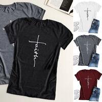 Women's Christian Short Sleeve Tops Cross Print Faith T-Shirt Graphic Plus Size