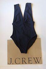 NEW J Crew Plunge V Neck One Piece Swimsuit in NAVY Sz 8 Medium G9417 $98