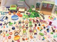 158 Items Playmobil Lot - Beach Vacation Bungalow Cabana Pool People Dogs Cats