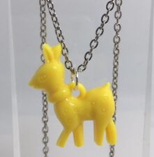 Yellow Deer Doe Charms Plastic Kitch Pendant Silver Chain  D069 Acrylic