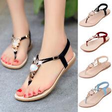 Womens Flat Sandals Summer Flip Flop T-strap Slingbalck Beach Thong Party Shoes