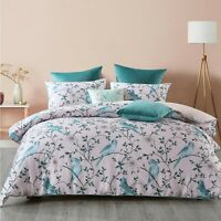 Parakeets Quilt Cover Set Blush by Bianca | Finished with an elegant piped edge