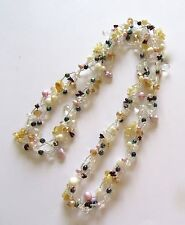 Fresh Water Pearl Necklace -braided- white & pink pearls -seed beads  -34""