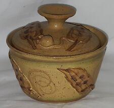 Brown stoneware vintage retro design butter dish / lidded bowl