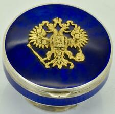 Antique Imperial Russian Faberge 84 silver&Guilloche transparent enamel pill box