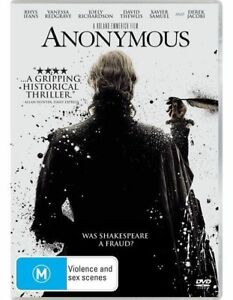 Anonymous (DVD) 2011 Rhys Ifans, Vanessa Redgrave Political Thriller Shakespeare