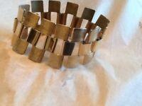 "Signed Sarah Coventry Vintage Bracelet 6.75"" Long Gold Tone Wide Band"