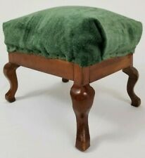 Antique Victorian Mahogany Footstool Queen Anne Upholstered Stool Vintage