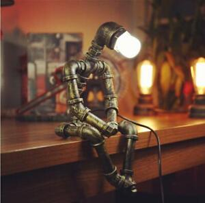 Retro Lights Table Lamp Robot Industrial Water Pipe Steampunk Copper With Bulb