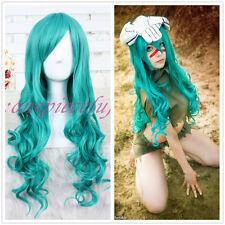 BLEACH Neliel Raionkarurongu Teal Green Emerald Wavy Anime Cosplay Wig+a wig cap