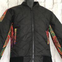 Biker Bomber Jacket Retro Style Mens Size Medium Black Bike Light Padding NEW