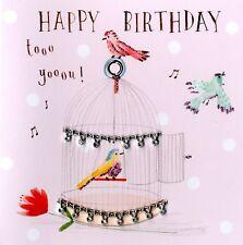 Singing Birds Embellished Birthday Greeting Card Hand-Finished Marshmallow Cards
