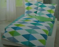 Bierbaum Renforce Bettwäsche Set 2 teilig 155 x 220 cm Design 3710 Ozean/Rauten