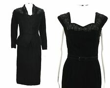 COUTURE c.1940's 2pc BLACK VELVET BEADED COCKTAIL EVENING DRESS JACKET VTG SET S