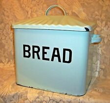 LARGE LIGHT BLUE COUNTER BREAD BOX with BLACK LETTERING ~ ENAMEL ON STEEL ~ A