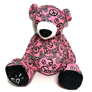 "Be Happy 14"" Teddy Bear Ganz Heart Peace Sign Plush Pink Black Stuffed Toy R1"