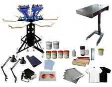 Micro Adjustable 6 Color 6 Station Carousel Screen Printing Press Kit D