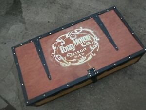 Ford Motor Company Pine Trunk Chest Box Coffee table On Wheels