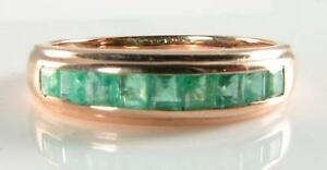CLASSIC 9K 9CT ROSE GOLD COLOMBIAN EMERALD CHANNEL SET ETERNITY RING
