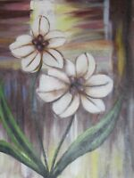 abstract white flowers large oil painting canvas floral contemporary original