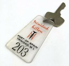 Vintage 1960s TRINIDAD HILTON Hotel Room Key & Fob LUCITE Port Spain West Indies