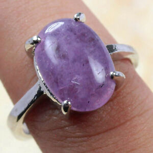 Amethyst 925 Silver Plated Handmade Gemstone Ring of US Size 7.75 Ethnic Gift