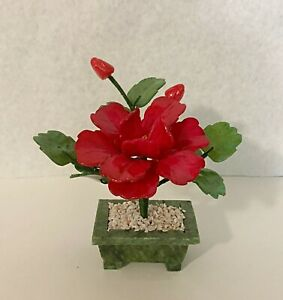 1 pc of handcrafted Jade and glass flower Bonsai small Peony Flower Basket