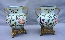 Bohemian Art Glass Pair Enameled Opaline Vase Ormolu Pierced Base 19th C