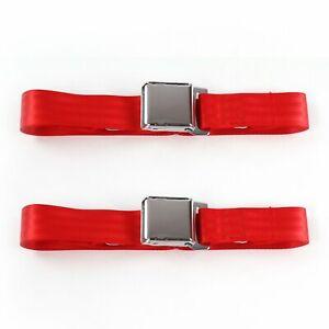 Camaro 1982 - 1992 Airplane 2pt Red Lap Bucket Seat Belt Kit - 2 Belts SafTboy