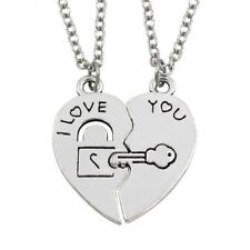 1 Pair I Love You Lock Key Heart Stainless Steel Pendant for Couple Necklace