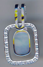"""925 Sterling Silver Mother of Pearl & Cubic Zirconia Pendant  L34mm (1.1/4"""")"""