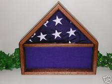 US AMERICAN  OAK 3X5 FLAG DISPLAY CASE MEMORABILA BOX D
