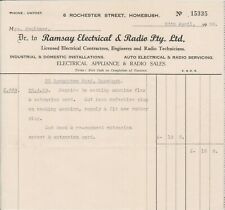 (U49-6) 1959 NSW receipt from Ramsay Electrical &Radio Pty (F)