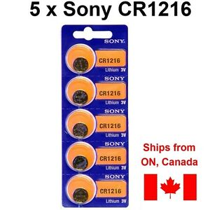 5 NEW SONY CR1216 DL1216 Batteries lithium coin watch battery. Expiration: 2027